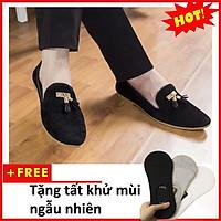 Giày Lười Nam Đẹp Đế Khâu Chuông Vàng Da Búc Màu Đen Sang Trọng - M124-BUCK (T)