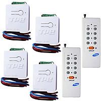 Bộ 04 công tắc điều khiển từ xa TPE RC5H - 12V, 4A + 2 Remote RM02, 315Mhz, sản xuất tại Việt Nam