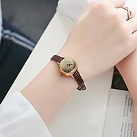 Đồng Hồ Nữ Julius Hàn Quốc dây da nhỏ xinh JA-979 nâu
