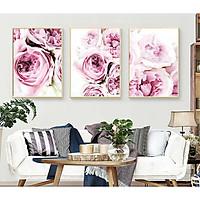 Set 3 tranh canvas hoa mẫu đơn hồng phấn 30x40cm HO0182 - Không có khung