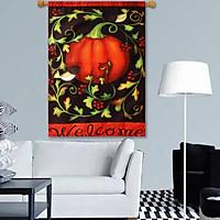 "Pumpkins Vines And Chickadees Welcome Autumn Flag Fall Garden 12.5"" x 18"""