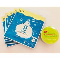Combo: Mặt nạ thải độc Bubble Air Clean Mask Pack (5 miếng) + Hộp tẩy trang mắt môi