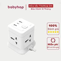 Ổ Cắm Điện Đa Năng CubeZ Shoptida 2 Cổng USB 1 Type C sạc nhanh 15W - 2,4A và 4 Ổ Điện chịu tải 2500W Dây nối dài 1.8m