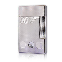 Hộp Quẹt Bật Lửa Xăng Mini DX15B Họa Tiết Kẻ Chéo Khắc Chữ 007 Có Lỗ Tròn Nhỏ Màu Bạc