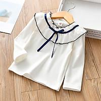 Áo thun bé gái 3-8 tuổi phối cổ áo công chúa xinh xắn - A003