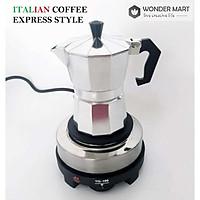 Bộ pha cà phê phong cách Ý tách, Bếp điện và ấm moka 3/6 tách 150/300ml