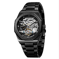 FORSINING Men's Automatic Mechanical Watch with Stainless Steel Strap Hollow-out Design Luminous Display Wristwatch