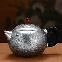 Ấm bạc pha trà khổng tước liên hoa