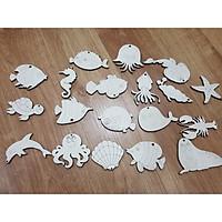 Đồ chơi tô màu bằng gỗ sinh vật biển đại dương, có kèm móc chuông gió cho bé sáng tạo