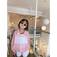 Áo chống nắng bé gái không cổ màu hồng mix trắng ACN0005B