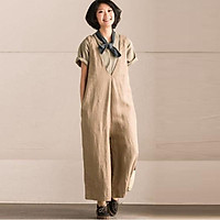 ZANZEA Female Autumn Sleeveless V Neck Pullover Bandage Strappy Dungaree Leisure Casual Solid Wide Leg Pants Pockets Suspenders Trouser Beige