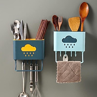 Ống Đựng Đũa Thìa Dĩa - Kệ để Đồ Nhà Bếp và Phụ Kiện Hình Mây Dán Tường - Màu Ngẫu Nhiên