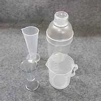 Combo 4 dụng cụ pha chế bình lắc, ly 2 đầu, ca nhựa 300ml, ly 100ml