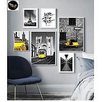 Tranh treo tường trang trí phòng khách, phòng ngủ,châu âu cổ, tông vàng Tặng kèm khung và đinh ba chân treo tranh chuyên dụng PVP-TP221
