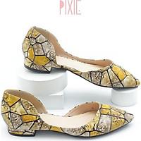 Giày Bệt Nữ Mũi Nhọn Khoét Eo 1cm Màu Vàng Pixie P868