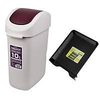 Combo thùng đựng rác 10L nắp xoay màu nâu + khay đựng tài liệu A4 nội địa Nhật Bản
