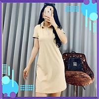 Đầm nữ cổ bẻ Váy polo dáng suông chất thun cotton 100% thời trang