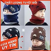 Mũ len lót lông họa tiết Sao c, set mũ len kèm khăn ống