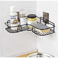 Giá góc, kệ góc treo tường bằng miếng dính (không phải khoan) cho nhà bếp, phòng tắm thêm gọn gàng, để được nhiều đồ hơn