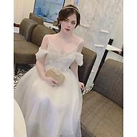 Đầm dự tiệc công chúa 2 dây rớt vai lưới kết hoa nổi và cườm TRIPBLE T DRESS - size M/L (kèm ảnh và video thật)MS262V