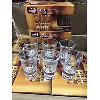 Bộ 6 ly uống rượu thủy tinh cao cấp độ tinh khiết cao, khả năng chịu nhiệt tốt, hạn chế được sự nứt vỡ.