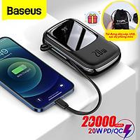 (Tặng túi đựng TOPK)Pin sạc dự phòng Baseus mini 20W - 20000mAh tích hợp cáp sạc Lightning, màn hình LED hiển thị, dùng cho iPhone, Samsung, Xiaomi,...-Hàng chính hãng
