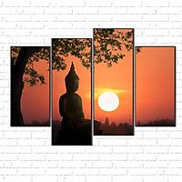 Tranh canvas treo tường - Đức Phật thiền định CD32  -vải canvas kim tuyến dán Pima, khung viền composite, công nghệ in UV
