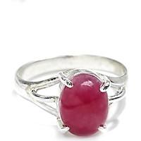 Nhẫn Bạc Ruby Oval Ngọc Quý Gemstones