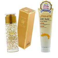 Combo Nước Hoa Hồng dưỡng trắng tinh chất vàng 24k  J'WHITE 120ml + Sữa rửa mặt ngăn ngừa mụn tinh chất Vàng 24k J'WHITE 120g