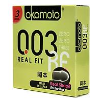 Bao cao su Okamoto 0.03 Real Fit 3s. Mỏng Mềm Mại Tăng Cường Cảm Giác