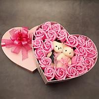 Quà tặng sinh nhật, 8/3 cho bạn gái, vợ - hoa hồng sáp hộp tim 2 gấu, màu hồng - H15H