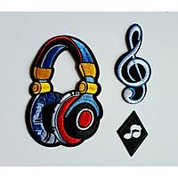 Bộ 3 Miếng Sticker Thêu Ủi Hình Âm Nhạc MS663855