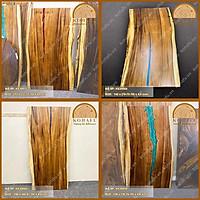 Mặt gỗ me tây nguyên tấm kết hợp với nhựa epoxy cực đẹp