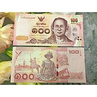 Tiền cổ Thái Lan 100 Baht chân dung vua cha quá cổ, mới 100% UNC, tặng túi nilon bảo quản