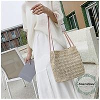 Túi đeo vai cói móc phong cách Hàn Quốc/ túi xách nữ đi biển đi du lịch 2 màu trơn - Smice House