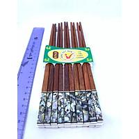 Bộ 10 đôi đũa ăn gỗ Trắc tự nhiên đầu cẩn trai biển ĐEN (vuông)