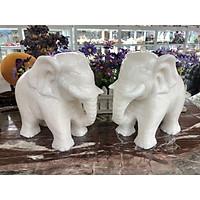 Tượng voi phong thủy đá cẩm thạch trắng - Cao 20 cm