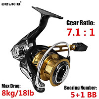 DEUKIO High Speed Spinning Reel 7.1 : 1 Gear Ratio Metal Spool Bass Fishing Both Freshwater And Saltwater