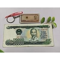 Tờ tiền 50 ngàn giấy xưa màu xanh lá - thời bao cấp [TIỀN XƯA THẬT 100% - TIỀN ĐẸP] tặng kèm móc khóa hình tiền xưa