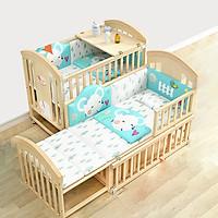 Giường cũi nôi cho bé kích thước 1m2 có thể kéo dài thành giường 1m6