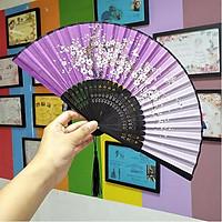 Quạt cổ trang dây tuyến tím nền nhã quạt xếp cầm tay phong cách Trung Quốc quạt trúc cầm tay quạt cổ trang in hoa trang trí tặng ảnh thiết kế vcone
