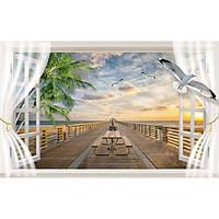 Tranh dán tường 3d cửa sổ biển  ép kim sa có sẵn keo CS38
