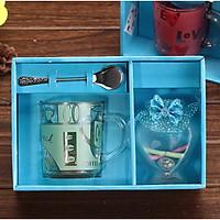 Hộp quà lưu niệm cốc pha cafe kèm thìa in hình love kèm hũ phát sáng làm quà tặng cực ý nghĩa (giao màu ngẫu nhiên)