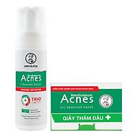 Dung dịch tạo bọt ngăn ngừa mụn Acnes Foaming Wash (150ml) + Tặng Giấy thấm dầu Acnes Oil Remover Paper (50 tờ)