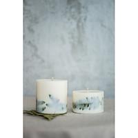 Combo 2 nến sáp ong đổ bằng tay với hỗn hợp hương sả chanh, trang trí lá dương xỉ