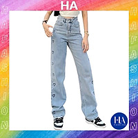 Quần Jean Nữ Ống Rộng H&A Fashion Lưng Cao Màu Xanh Nhạt In Trái Tim TBQBB3336
