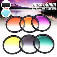 6pcs 58mm Gradient Filter + Cleaning Cloth For Canon EOS 1100D 600D