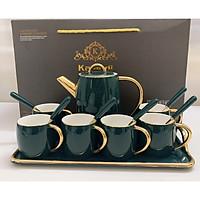Combo Bộ bình trà cà phê sứ sương Kaandi cao cấp kèm 6 thìa cán sứ cùng màu phong cách Châu âu sang trọng màu xanh cổ vịt - ANTH477