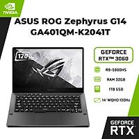 Laptop Asus ROG Zephyrus G14 GA401QM-K2041T (AMD R9-5900HS/ 32GB (16x2) DDR4 3200MHz/ 1TB SSD PCIE G3X4/ GTX 3060 6GB GDDR6/ 14 WQHD IPS, 120Hz/ Win10) - Hàng Chính Hãng