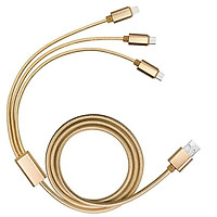 Cáp sạc 3 trong 1 đầu iphone,USB,Typ-C Arun bọc dù chính hãng Ibesky (vàng)